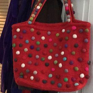 Big red wool winter holiday bag